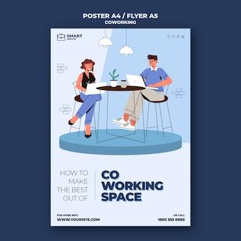 Modelo de folheto de espaço de coworking