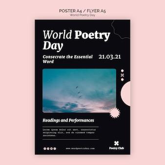 Modelo de folheto de evento do dia mundial da poesia