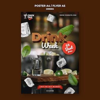 Modelo de folheto de evento para a semana da bebida