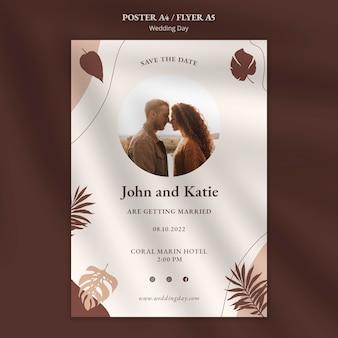 Modelo de folheto de evento para dia do casamento