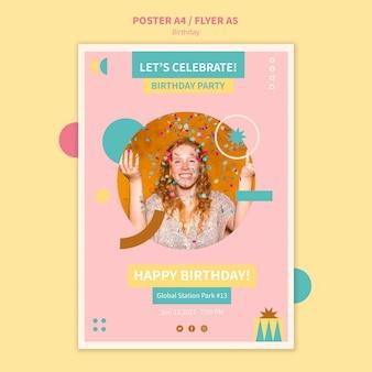 Modelo de folheto de feliz aniversário