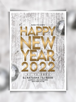 Modelo de folheto de festa de feliz ano novo 2022