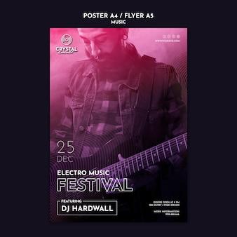 Modelo de folheto de festival de música eletrônica