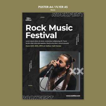 Modelo de folheto de festival de música rock