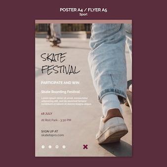 Modelo de folheto de festival de skate