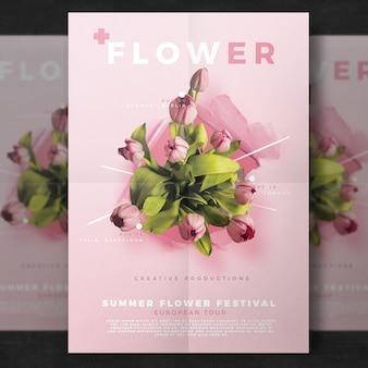 Modelo de folheto de flores