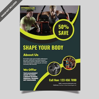 Modelo de folheto de ginásio de fitness moderno