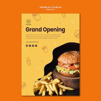 Modelo de folheto de hambúrguer restaurante