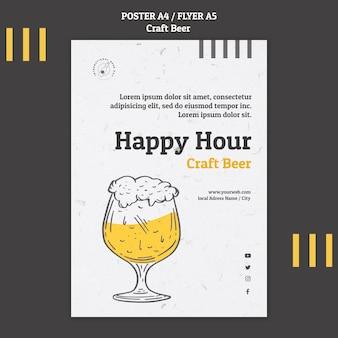 Modelo de folheto de happy hour de cerveja artesanal