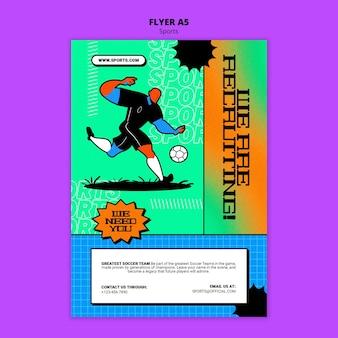 Modelo de folheto de ilustração vibrante de futebol