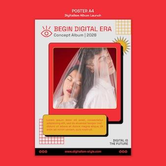 Modelo de folheto de lançamento de álbum com foto