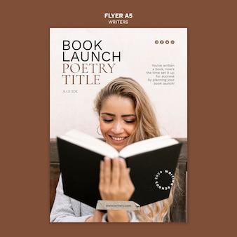 Modelo de folheto de lançamento de livro com título de poesia