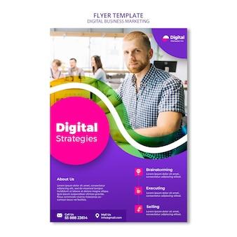Modelo de folheto de marketing empresarial digital