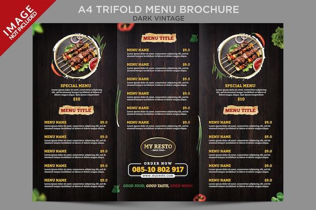 Modelo de folheto de menu com três dobras vintage escuro