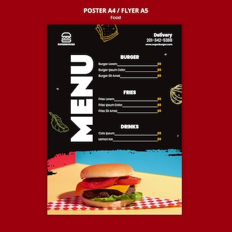 Modelo de folheto de menu de hambúrguer delicioso