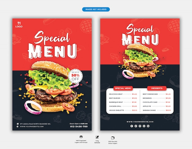 Modelo de folheto de menu e restaurante de comida