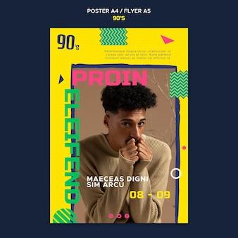 Modelo de folheto de moda dos anos 90
