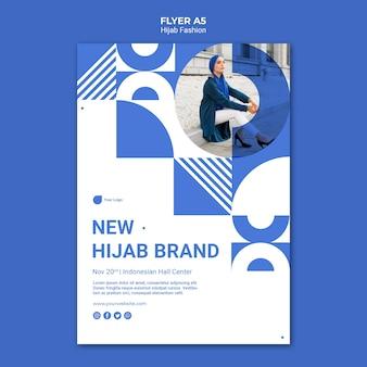 Modelo de folheto de moda hijab com foto