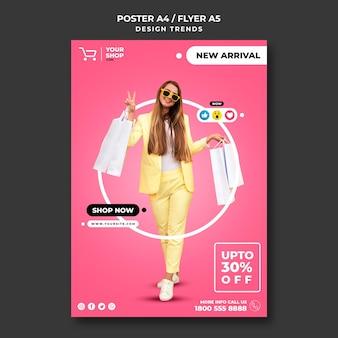 Modelo de folheto de mulher comprando