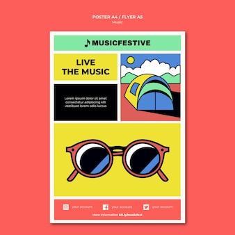 Modelo de folheto de música ao vivo