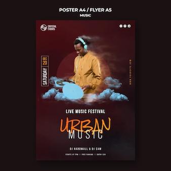 Modelo de folheto de música urbana