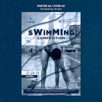 Modelo de folheto de natação com foto