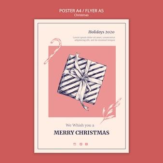 Modelo de folheto de natal desenhado à mão