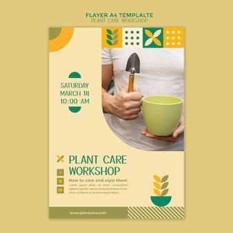 Modelo de folheto de oficina de cuidados com plantas