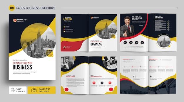 Modelo de folheto de perfil de empresa de 8 páginas