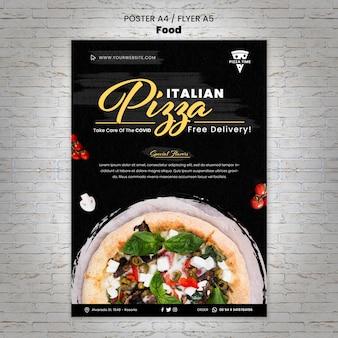 Modelo de folheto de pizza deliciosa