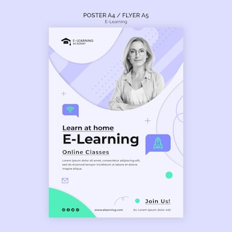 Modelo de folheto de plataforma de e-learning