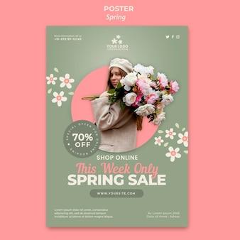 Modelo de folheto de primavera com foto