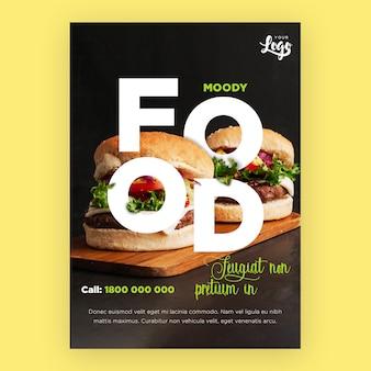 Modelo de folheto de restaurante com hambúrgueres