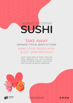Modelo de folheto de restaurante de sushi asiático