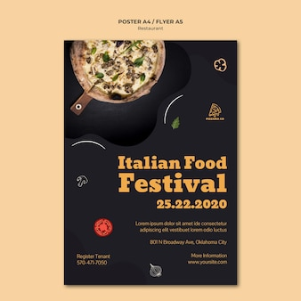Modelo de folheto de restaurante italiano