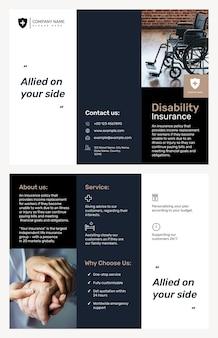 Modelo de folheto de seguro de invalidez psd com texto editável