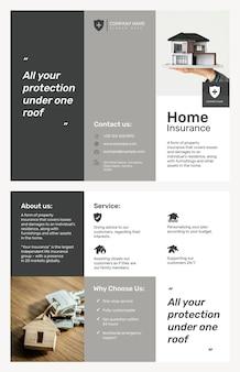 Modelo de folheto de seguro residencial psd com texto editável