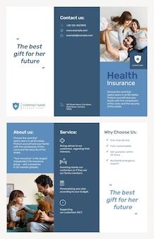 Modelo de folheto de seguro saúde psd com texto editável