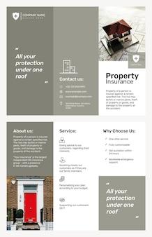 Modelo de folheto de seguros de propriedade psd com texto editável