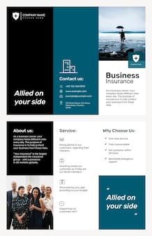 Modelo de folheto de seguros empresarial psd com texto editável