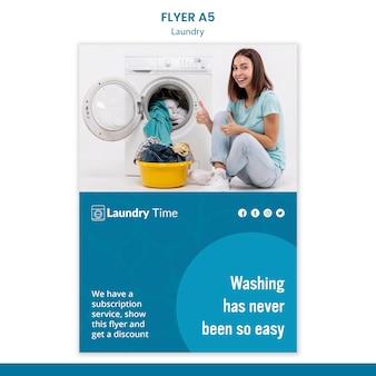 Modelo de folheto de serviço de lavanderia