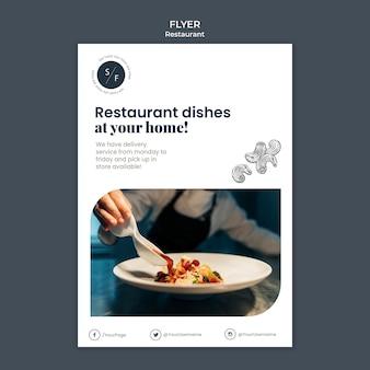 Modelo de folheto de serviço de restaurante