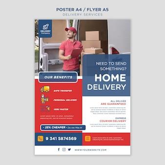 Modelo de folheto de serviços de entrega