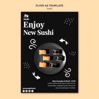 Modelo de folheto de sushi com foto