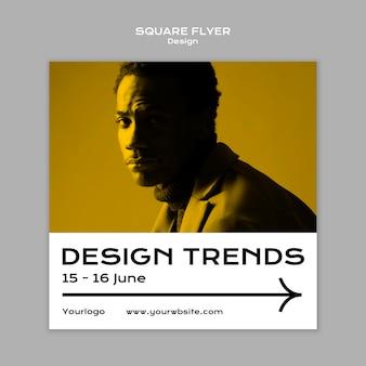 Modelo de folheto de tendências de design formato quadrado