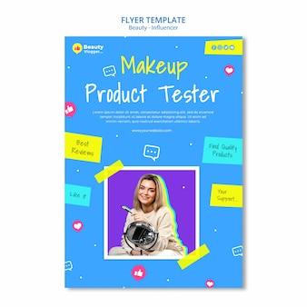 Modelo de folheto de teste de maquiagem