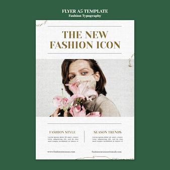 Modelo de folheto de tipografia de moda
