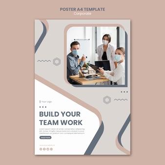 Modelo de folheto de trabalho em equipe