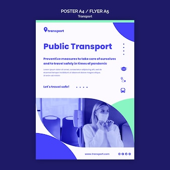 Modelo de folheto de transporte público seguro