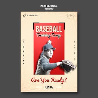 Modelo de folheto de treinamento de beisebol